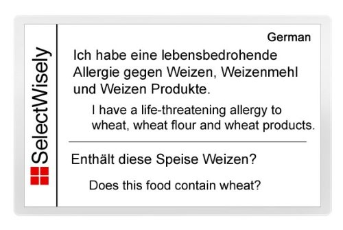 Wheat Allergy Translation Card – Translated in Afrikaans or any of 67 languages 1898